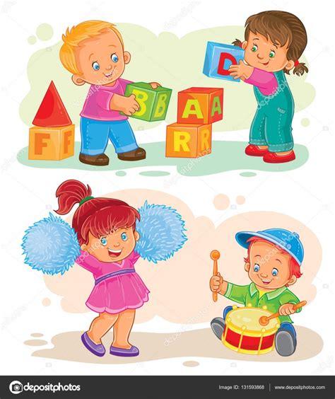 dibujos niños jugando con juguetes conjunto de vectores iconos peque 241 os ni 241 os jugando con