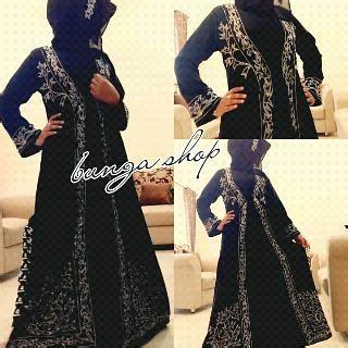 Dress Bordir Flower Hitam Size M L Import 13030 abaya border bunga shop bajuindia bajuindia