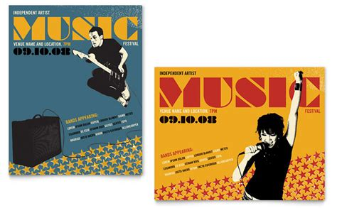 templates for music posters live music festival event poster template word publisher