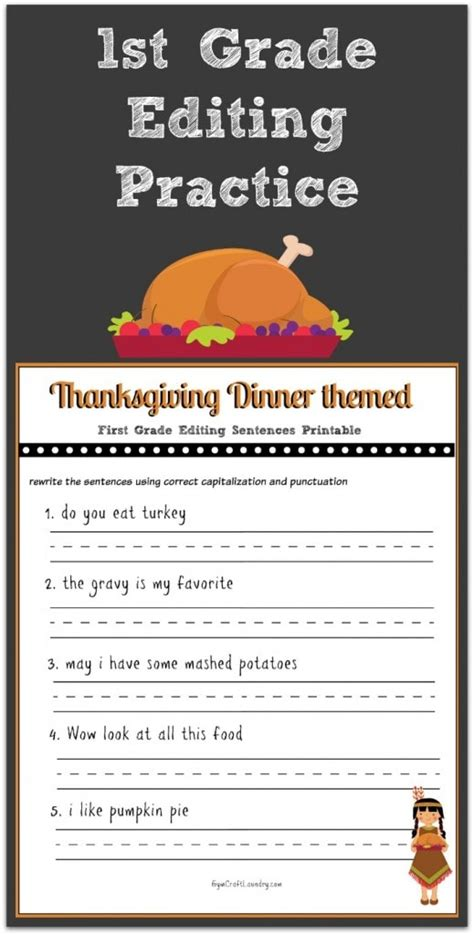 free printable thanksgiving worksheets for 1st grade thanksgiving 1st grade editing printable gym craft laundry