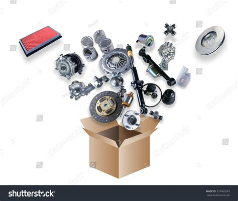 The Spare Parts Box many spare parts flying out box stock photo 337460243