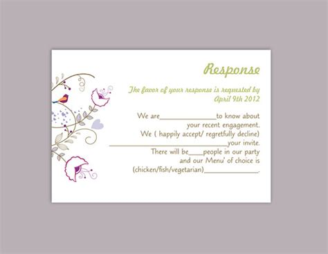 Response Card Template Word by Rsvp Card Template Word 28 Images Printable Wedding