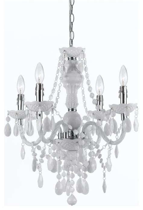 White Chandelier Plastic 4 Light Mini Chandelier In White White
