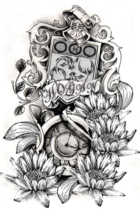 family crest tattoo designs flowers and design