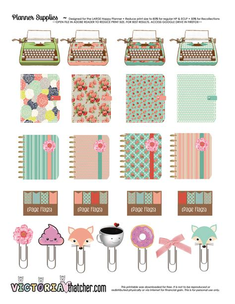 free printable planner supplies victoria thatcher blog