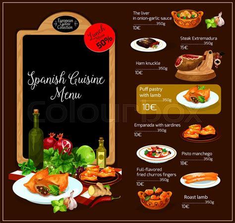 spanish restaurant vector menu spain traditional cuisine