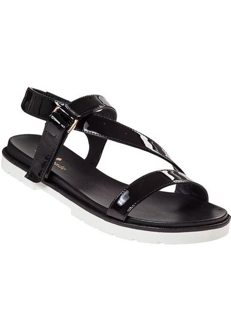 black sandals flat lyst kate spade new york mckee flat sandal black patent