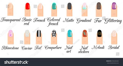 types of design styles manicure types infographic nail design nail art vector