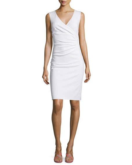 Yoku Dress V diane furstenberg layne ruched sheath dress white