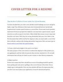 Cover Letter For A Resume How To Write A Cover Letter For A Resume