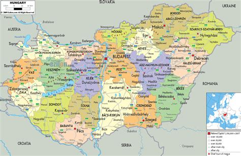 map of all cities large detailed political and administrative map of hungary