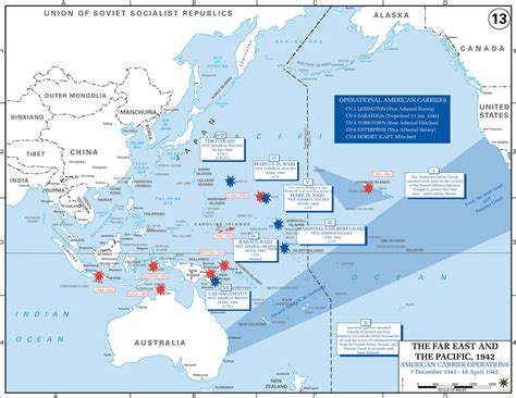 map of wwii american carriers in the pacific 1941 42