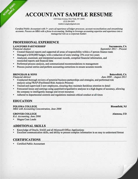 accounts resume format accountant resume sle and tips resume genius