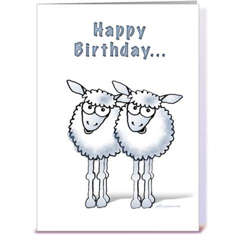 Sheep Birthday Card Happy Birthday Two Ewe Sheep Greeting Card By