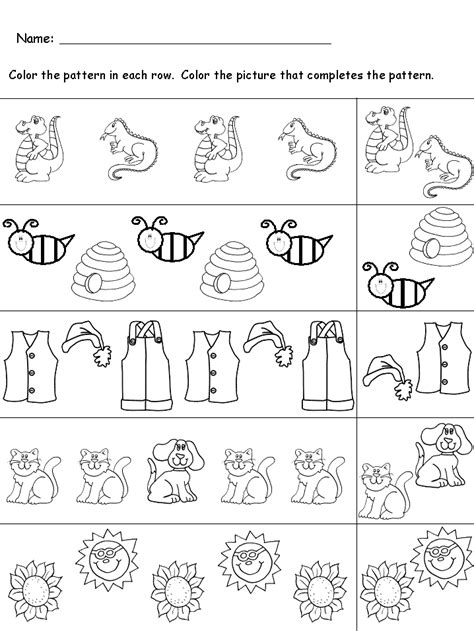 pattern activities preschool kindergarten worksheets october 2015