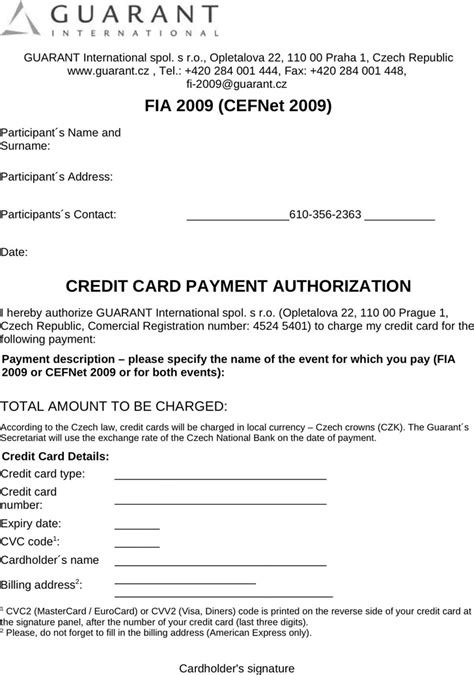 Free Credit Card Payment Authorization Form Template Credit Card Payment Authorization Template Free