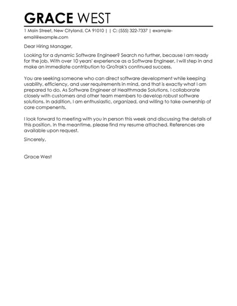 software engineer cover letter best software engineer cover letter exles livecareer 1629