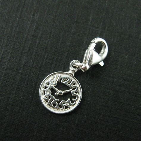 sterling silver tiny clock charm charm with clasp
