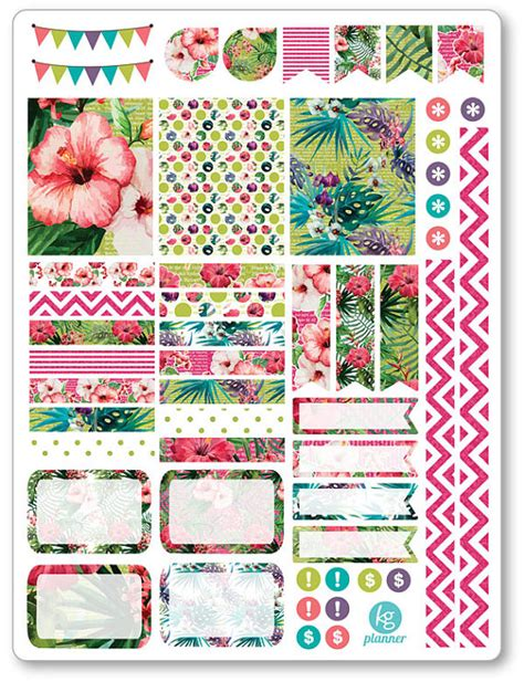Printable Planner Decorations | tropical decorating kit weekly spread planner stickers for