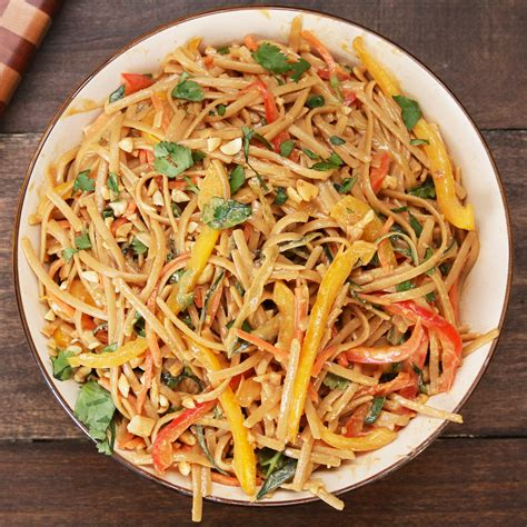 pasta salad with spaghetti noodles peanut noodle pasta salad recipe by tasty