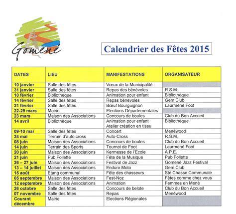Calendrier Fete Calendrier Des F 234 Tes 2015