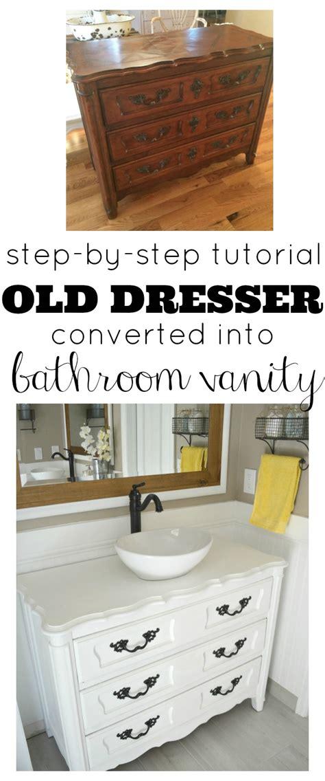 old dresser bathroom vanity old dresser turned bathroom vanity tutorial