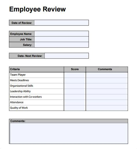 Staff Review Form Template by Employee Performance Review Template Cyberuse