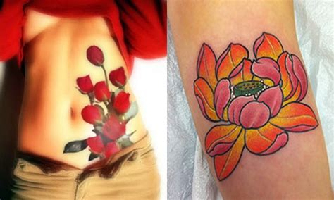 different red flowers tattoo design sheplanet