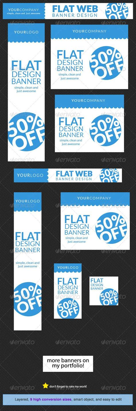 Flat Web Banner Design Template Flats Advertising And Affiliate Marketing Website Advertisement Template
