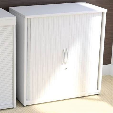 Tambour Storage Units With Side Sliding Doors   white