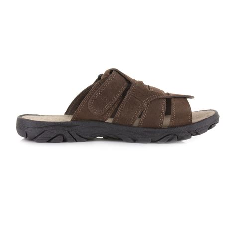 mens slider slip on brown suede leather mule sandals shoes