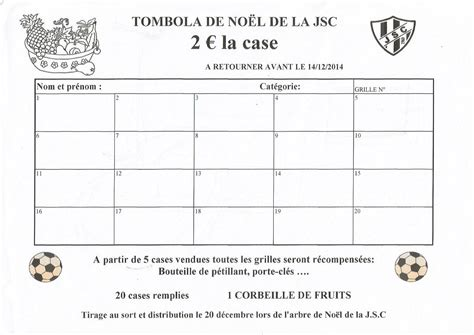 Grille De Tombola by Jeunesse Sportive Chamberienne 11 12 Tombola