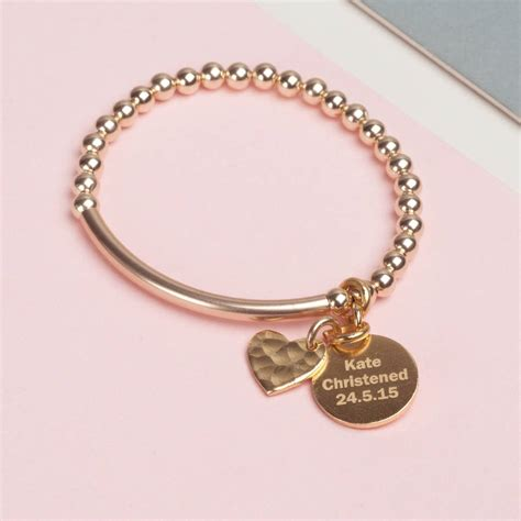 Pendant Bracelet 14 k gold filled pendant christening bracelet by oh so
