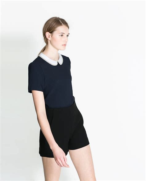 Zara Blouse Songket Navy zara blouse with combination collar in blue lyst