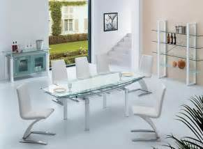 Contemporary Glass Dining Room Tables Extendable Frosted Glass Top Designer Modern Dining Room