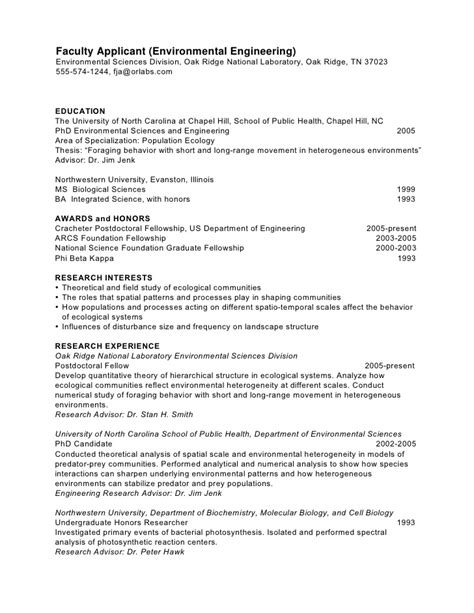 resume sles for faculty phd cv ecology faculty