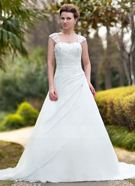 hochzeitskleid jjshouse ball gown sweetheart chapel train chiffon wedding dress