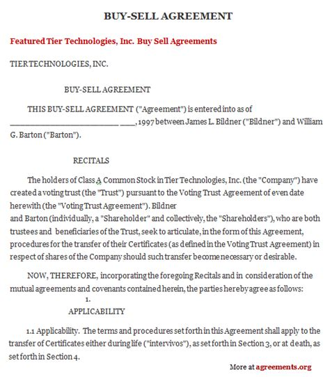 Sle Buy Sell Agreement Template Free Printable Documents Buy Sell Contract Template