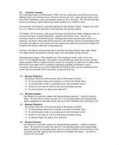 restaurant business plan 12 free pdf word documents
