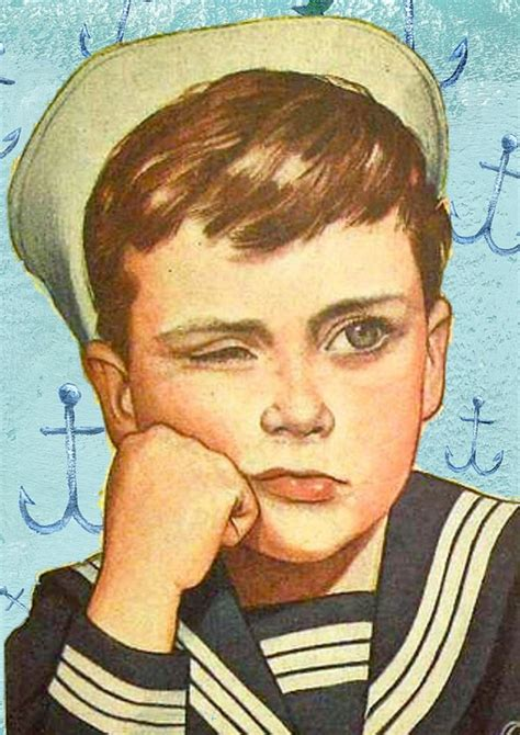 fotos retro free illustration retro boy sailor unhappy