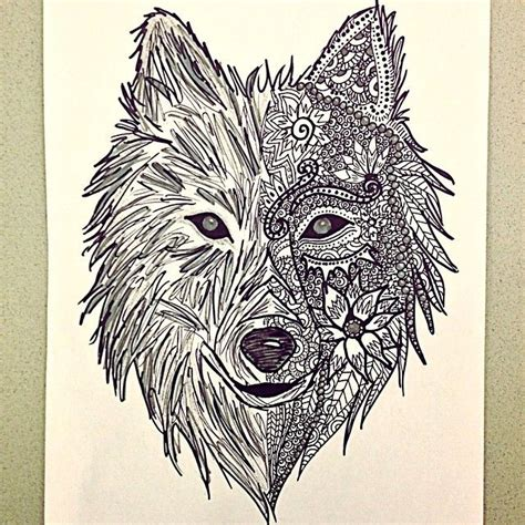 Wolf Zentangle Outline by Zentangle Wolf Drawing Pesquisa Do Coloring For Adults Wolves