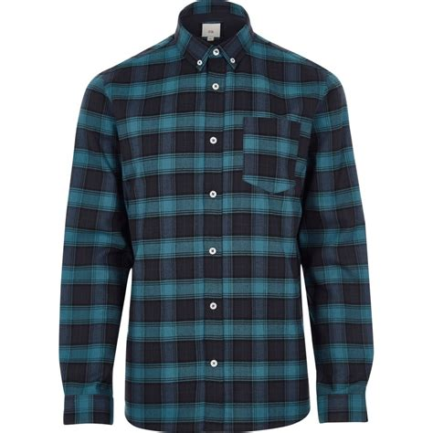 If Shirt blue check casual button shirt shirts sale