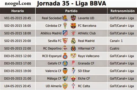 Calendario De Partidos Liga Bbva Partidos Jornada 35 Liga Espa 241 Ola Bbva 2015 Neogol