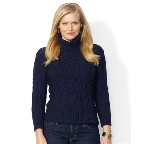 cable knit sweater plus size lyst by ralph plus size cable knit