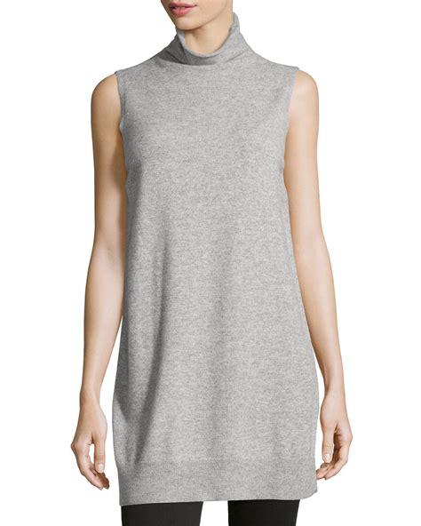 knit tunics lyst neiman sleeveless knit tunic in gray