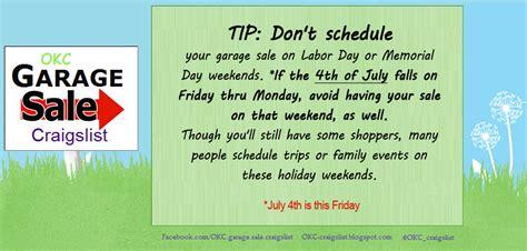 Post Garage Sale On Craigslist by Garage Sale Tip Worst Garage Estate Sale Dates