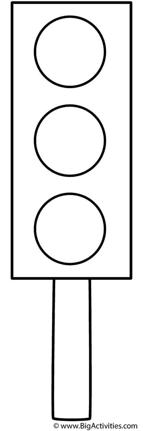 Traffic Light On A Post Coloring Page Safety Free Traffic Lights Coloring Pages