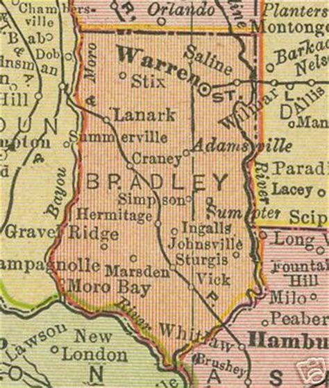 Free Records Search Arkansas Bradley County Arkansas Genealogy History Maps With Warren Hermitage Banks Moro