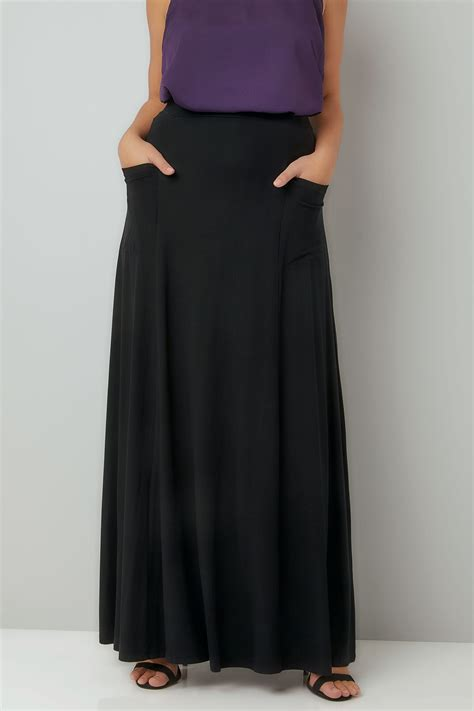 Maxi Jersey black maxi jersey skirt with pockets plus size 16 to 36