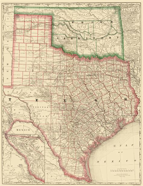 rand mcnally map of texas state maps texas and indian territory tx it by rand mcnally co 1879